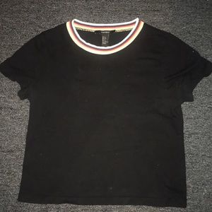 Black short sleeved shirt with Multicolored trim